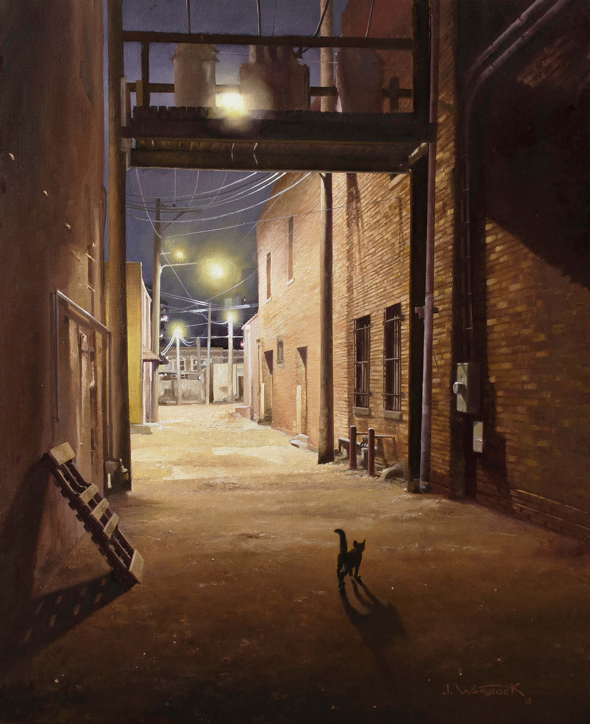 Alley Kitty an Original Painting by John Whytock