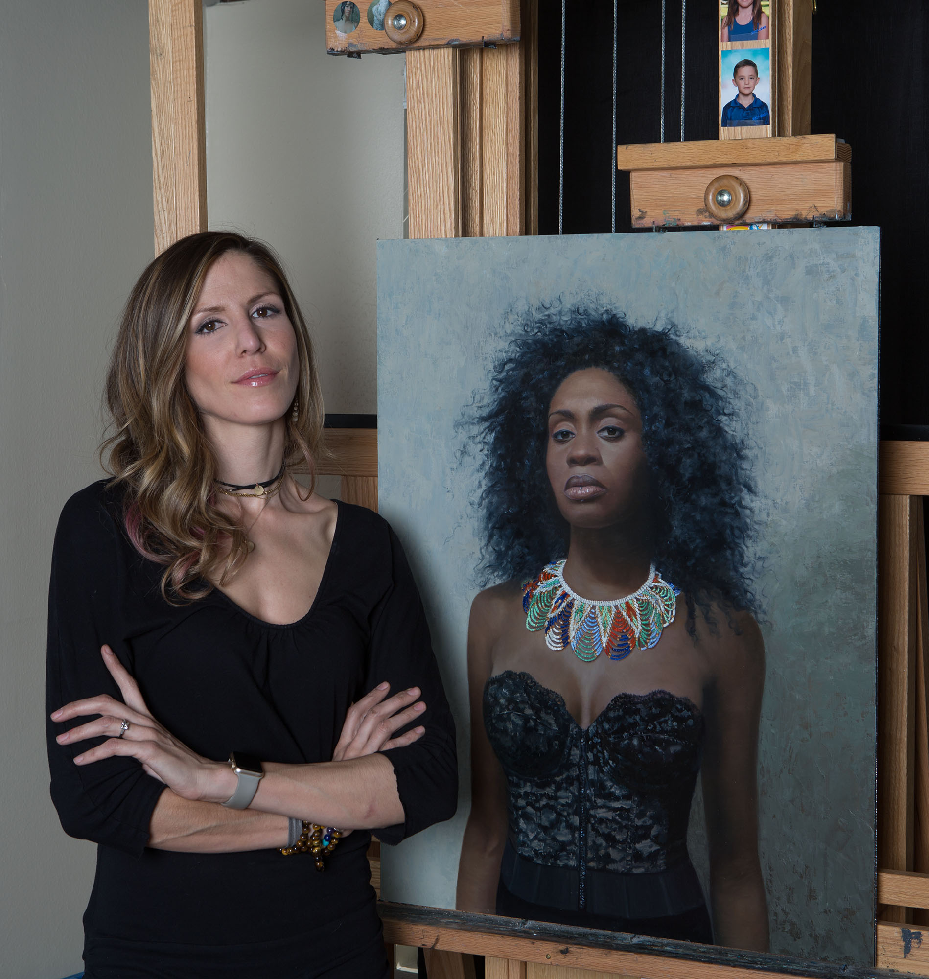 Artist Shana Levenson with Portrait